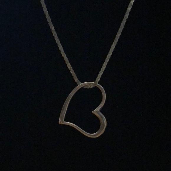Vintage Sterling Silver Floating Heart Necklace